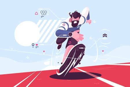 Bearded dude running fast on stadium vector illustration. Man in sport watch with pulse and location data on race track flat style concept. Runner sprinter guy on workout