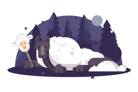 Cartoon wolf in sheeps clothing flat poster. Christian parable saying or proverb vector illustration. Humor metaphor concept. Night forest and moonlight on background Illustration