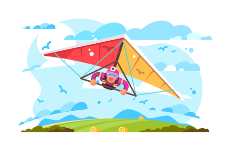 Cartoon man flying on hang glider poster. Extreme sport screaming feeling scared flat style concept vector illustration. Blue sky sun and green field on background Illustration