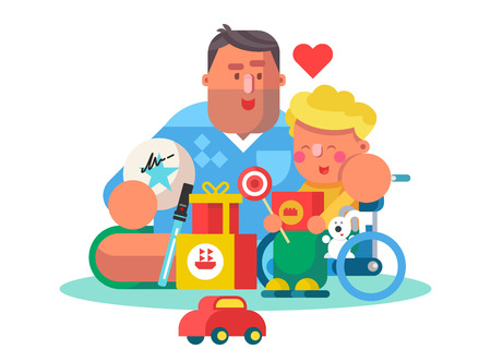 Dad playing with little son and toys poster. Cartoon smiling father and kid having good leisure time together flat style vector illustration. Concept of parenthood