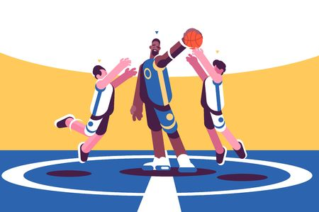 Professional basketball players on court vector illustration. Sportsman in fighting for ball flat style concept. Men teams in different uniform taking part in sport competition