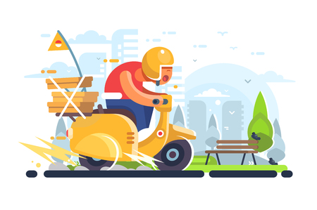 Pizza delivery man on scooter flat poster. Boy courier of pizzeria riding on yellow motorbike with food boxes vector illustration. Cityscape on background Illustration