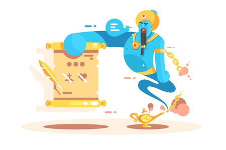 Zeichentrickfigur Geist vom goldenen Lampenplakat. Jinn erscheint und bereit, Ihnen drei Wünsche flache Konzeptvektorillustration zu gewähren. Lustige Jinnee mit magischen Kräften