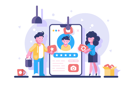 Social media personal profile vector illustration. Online dating app with users account for creating and share content or to participate in networking flat style. Settings messages video symbols