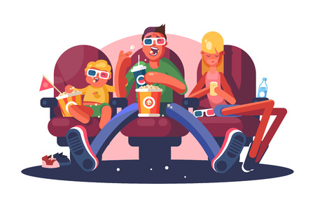 Family in cinema watching movie flat poster. Cartoon smiling man and boy in 3D glasses sitting with popcorn beverages and young woman using internet in modern smartphone vector illustration