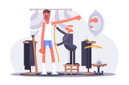 Cartoon tailor taking measures flat poster. Clothier standing on chair and measuring man client at dressmaker studio vector illustration. Men fashion concept. Clothes shop Interior