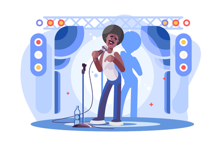 Young man stand up performing on stage poster Illustration