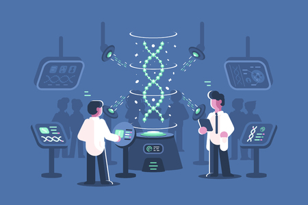 Genetics doctors researching dna in laboratory vector illustration. Two men in science lab with special equipments for research and experiments of deoxyribonucleic acid molecules flat style 写真素材 - 127268369