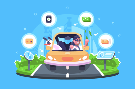 Online payment on the trip vector illustration. Boy travelling with dog by car and making e-payments using credit card smartphone check or cash flat style design. Signs do not litter on road  イラスト・ベクター素材
