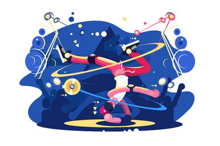 Breakdancer bailando en el cartel plano del escenario. Niño haciendo friso en la ilustración de vector de una mano. Concepto de B-Boys y Break Dance. Fondo de bailarina de hip hop para banner o flyer Ilustración de vector