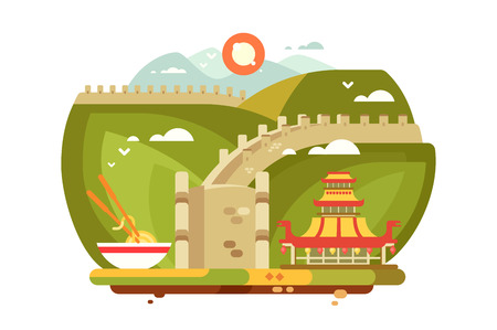 Great Wall of China landscape for travel design. Chinese top famous landmark on green mountains and traditional dishes flat style concept vector illustration. Historical showplace for print postcards