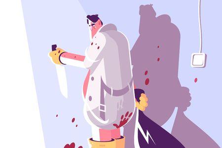 Maniaco dell'orrore con coltello e borsa