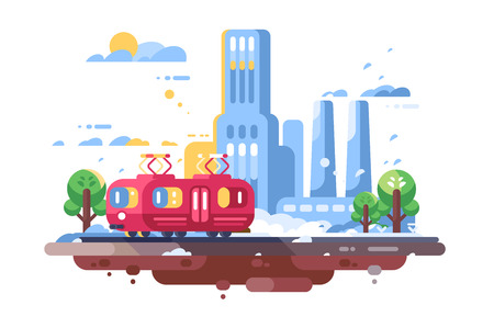 Retro tram on cityscape background vector illustration. Town tramcar public transport on street with buildings skyscrapers and trees flat style concept Illustration