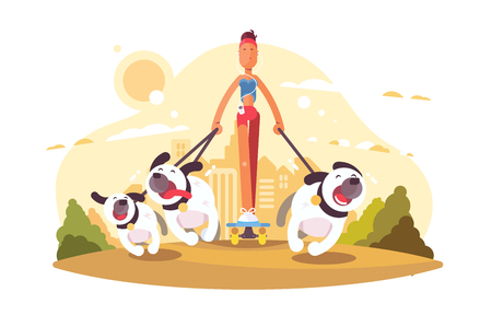 Woman on skate walking with dogs vector illustration. Girl in casual clothes listening to music and going with doggies in urban park square flat style concept. Pet walker service
