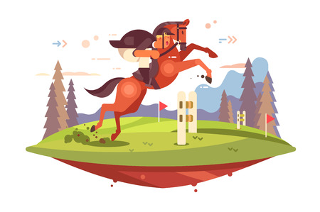 Professional Horseback Riding vector illustration. Jockey boy in uniform overcoming of obstacles flat style concept. Horse and man rider jumping hurdles