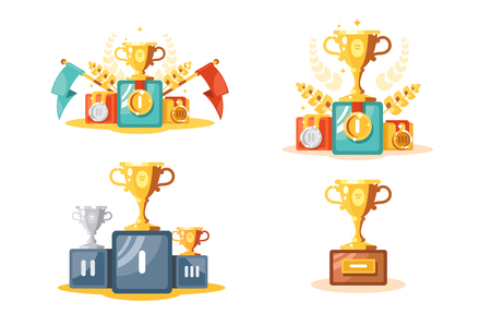 Pedestal with gold cup and medals set vector illustration. Composition consist of different types of golden and silver trophies on podiums flat style concept 写真素材 - 127175313