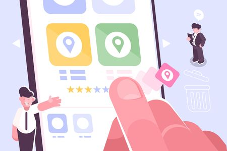 Hand putting star symbol to increase rating of app vector illustration. Modern gadget with open rate application on screen with three stars out of five possible. Feedback concept flat style design
