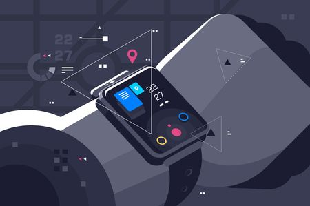 Modern smart watch on male hand. Device display with different functions and apps icons flat style concept vector illustration. Electronic intelligence wristwatch 写真素材 - 127074439