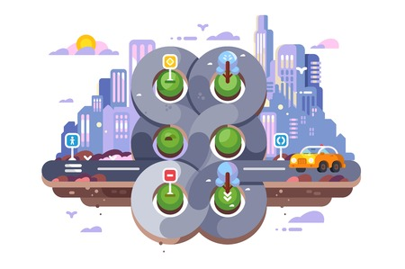 Transport cross road hub on cityscape background. Transport node vector illustration. Intersections of various roads flat style concept. Roundabout Circulation