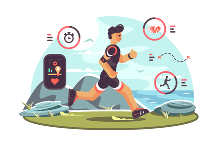 Sports apps for fitness. Man runners getting health information and other data using wearable technology fitness tracker. Heartbeat distance location pulse icons flat style concept vector illustration