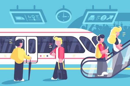 Subway interior with people train and escalator Ilustração