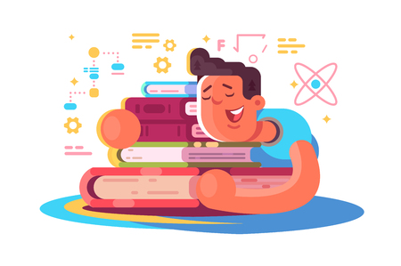 Cartoon man reading many books Illustration
