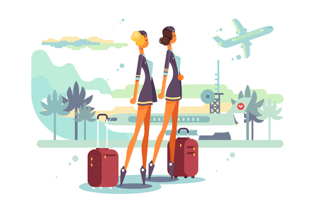 Charming stewardess with suitcases vector illustration. Cartoon beautiful flight attendants in uniform at airport flat style. Aviation staff employee concept Vettoriali