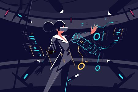 Woman in vr glasses working process vector illustration. Female in black working in virtual reality office with tiny details on interactive panel. Businesswoman flat style concept on dark background 写真素材 - 126868937
