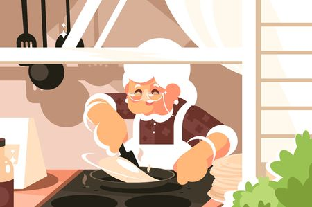 Grandma in kitchen cooking dinner vector illustration. Granny in apron and glasses baking pancakes flat style concept. Cuisine interior and home made food Иллюстрация