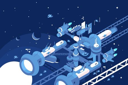 Orbital stations orbiting moon  イラスト・ベクター素材