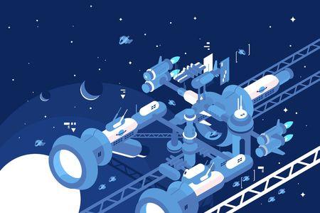 Orbital stations orbiting moon Illustration