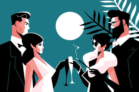 Stylish forties concept party vector illustration. Fashion man and woman in stylish clothes with glasses of champagne having fun time together flat style concept 일러스트