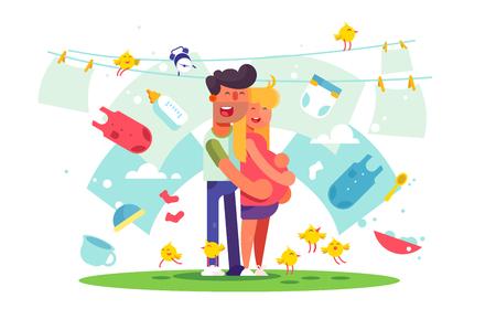 Cheerful pretty couple cuddling outdoors and smiling. Man standing behind pregnant woman vector illustration. Happy lovers expecting baby. Family and love flat style concept  イラスト・ベクター素材