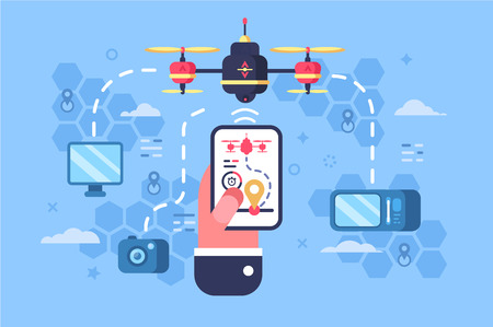 Drone delivery online service vector illustration. Male hand holding modern gadget and controlling quadcopter via mobile application. Technological shipment innovation concept. Autonomous logistics 写真素材 - 126770122