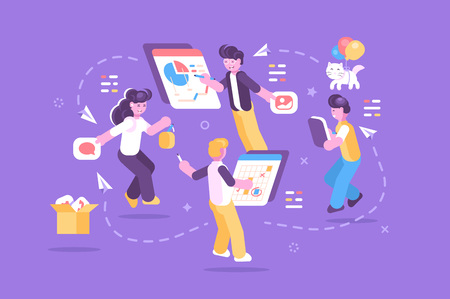 Cheerful people working together on one task vector illustration. Brainstorming and business composition concept. Team working of smart people on purple background