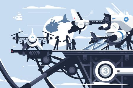 Taxi-Drohne oder Passagier-Quadcopter-Station Vector Illustration. Leute, die auf einem großen futuristischen Rotorfahrzeug fliegen. Moderne unbemannte Elektroflugzeuge oder automatisierte Quadrotoren