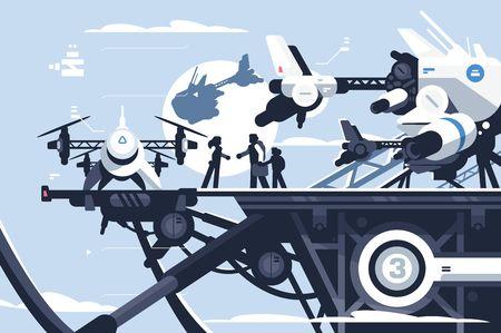 Taxi drone o ilustración de vector de estación de quadcopter de pasajeros. Personas que vuelan en un gran vehículo de rotor futurista. Aviones eléctricos no tripulados modernos o quadrotor automatizado
