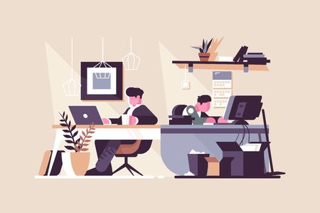 Creative office co-working center vector illustration. People working at the computers in the open space office flat style design. Work position interior. Modern workplace concept Illustration