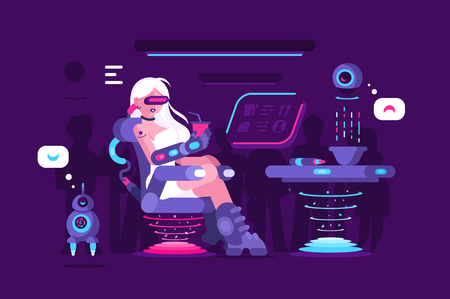 Girl drinking morning coffee in cafe vector illustration. Young woman in VR glasses with bionic arm sitting in coffee house. Robot waiter serves visitors flat style. Concept of future