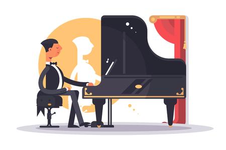 Hombre pianista en traje de lujo tocando la canción Ilustración de vector