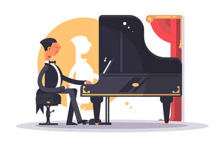 Pianist man in luxury suit playing song Illustration