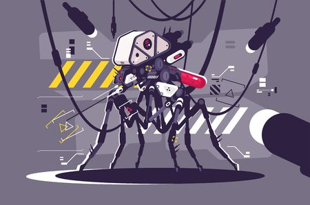 Cybernetic robot mosquito drone vector illustration. Steampunk cyborg flying animal monster flat style concept. Nano tech and Futuristic future technologies