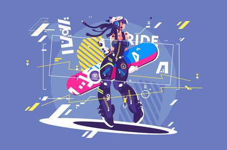 Beautiful girl in sportswear with snowboard vector illustration. Young woman snowboarder flat style concept. Snowboarding activities. Winter kinds of sport and holidays