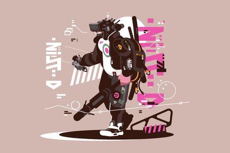 Robot drone mercenary mechanized and automated Illustration