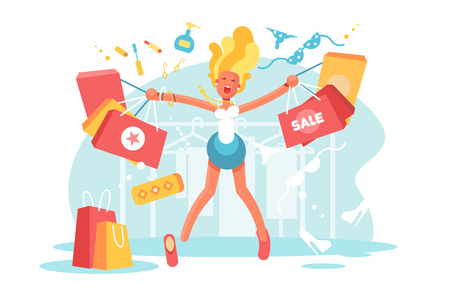 Cartoon happy blonde with shopping bags vector illustration. Young woman jumping for joy from good shops at store flat style. Girl with different purchases. Sale concept