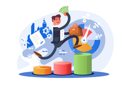 Man climbing up stairs or ascending columns of bar chart. Cartoon businessman holding briefcase and money in hands vector illustration flat style. Business growth concept