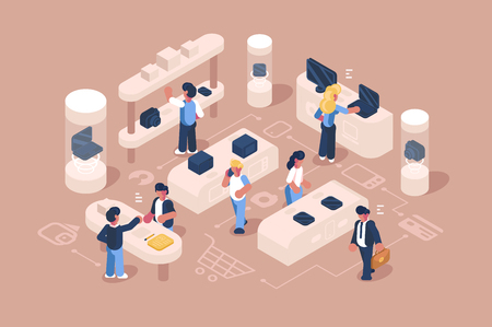 Customer service at electronics store vector illustration. Assistance and advice provided by consultants to people who buy or use its products such as laptop smartphones tablet camera etc