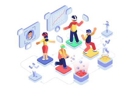 Virtual reality with people in headsets immersing in vr world. Men and women in virtual augmented reality glasses learning and entertaining vector illustration flat style concept. Technology of future Иллюстрация