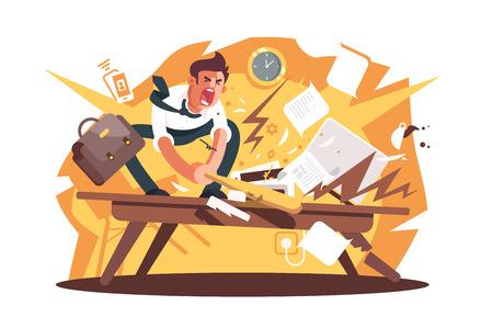 Trabajador enojado y exasperado aplastado lugar de trabajo. Hombre airado de dibujos animados destruye la posición de trabajo con el concepto plano de ilustración de vector de bate de béisbol. Ataque nervioso debido a problemas o estrés en el trabajo.
