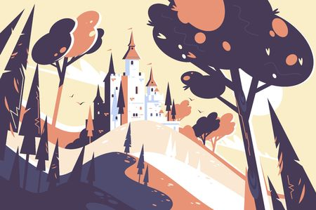 Old fairytale castle standing on hill landscape Stock Vector - 117815674